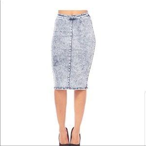 Denim Pencil Skirt Size L